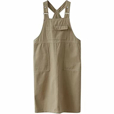 cc058d30dd9 Elwow Women Ladys Girls Adjustable Straps Plus Size Denim Skirt Stretch  Dungarees Dress Pinafore Big Pocket