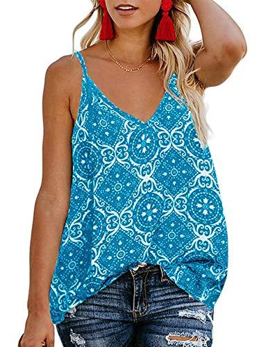 TECREW Women's Boho Floral V Neck Spaghetti Straps Tank Top Summer Sleeveless Shirts Blouse (Tank Top Love Womens)