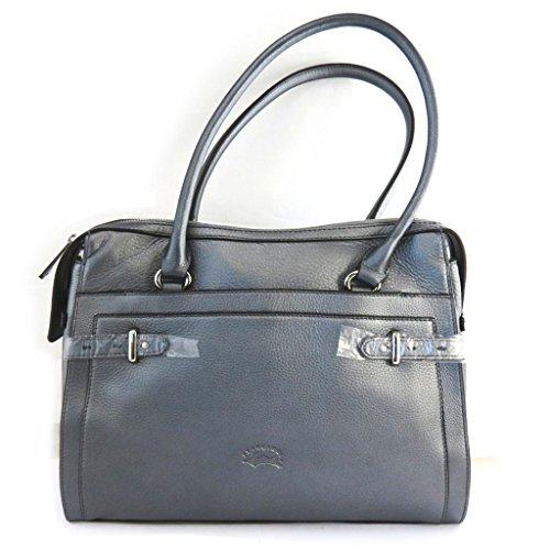 Francinel [N2470] - Sac cuir 'Vendôme' gris métallisé