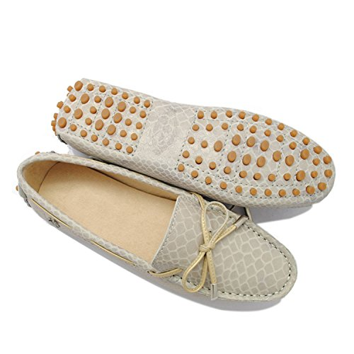 Minitoo Girls Ladies Casual Snake-print Knot Synthetic Leather Driving Shoes Loafers Moccasin Flats Khaki 0tcIzUXZv