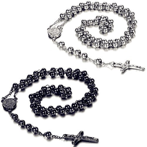Flongo Mens Womens Vintage Stainless Steel 6mm Beads Jesus Christ Crucifix Cross Rosary Pendant Necklace, 30 inch for Men Women Christmas, New Year, Valentines Day Jewelry Gifts