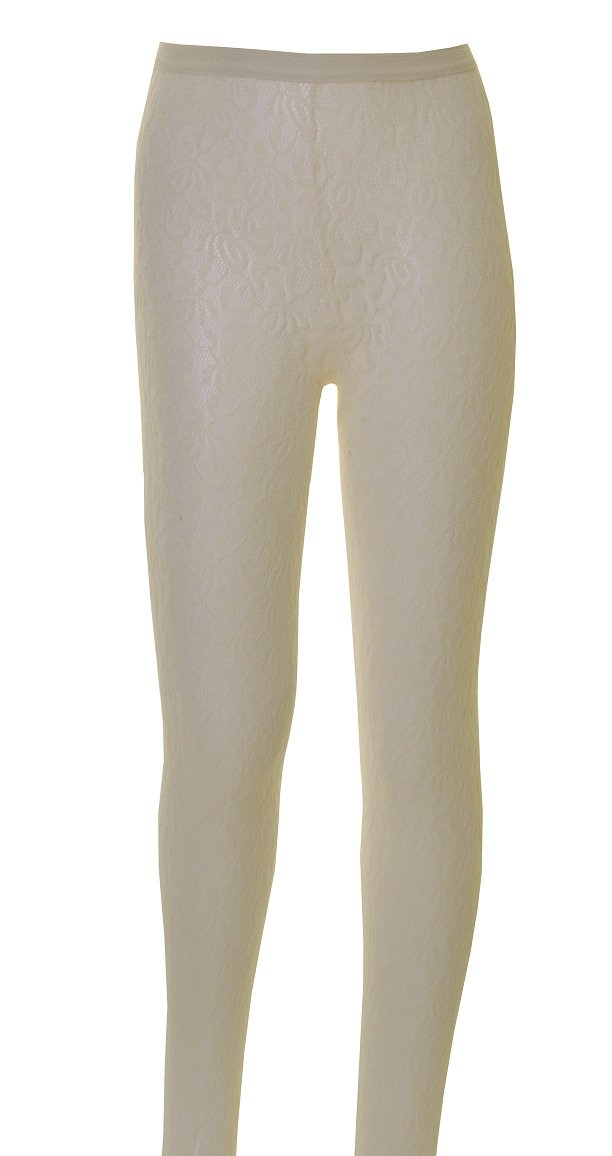 1 Pair of Girls Floral Lace, Tights Age 11 to 14 Cream