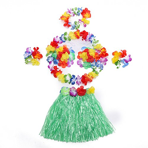 Gymnastic Rhythmic Costumes (Hawaii Dancing Mahalo Floral Costumes Child Lei & Grass Skirt Hula Set, 6-Piece, Green, 12