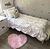 Machine Washable Faux Sheepskin Cotton Candy Pink Heart Rug 28'' x 30'' - Soft and silky - Perfect for baby's room, nursery, playroom - Fake fur area rug (Cotton Candy Pink Heart)