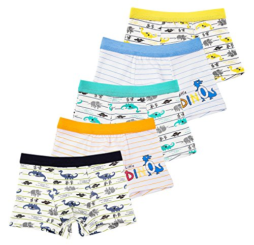 CHUNG Little Big Boys Soft Cotton Modal Boxer Briefs Underwear 5 Pack White Dinosaur, 3full-2stripe, 3T
