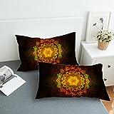 Sleepwish Mandala Buddha Pillowcase Covers Golden Zen Peace Meditation Design Pillow Shams Home Decor Indian Pillow Cases (King Size, 2 Piece)