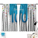 Jinguizi 100th Birthday Curtains/Panels/Drapes Birthday Party Wish for 100 Years Old with Colorful Dots Happiness Image Indoor Darkening Curtains Multicolor W55 x L39