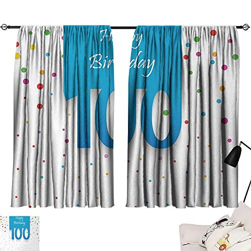 Jinguizi 100th Birthday Curtains/Panels/Drapes Birthday Party Wish for 100 Years Old with Colorful Dots Happiness Image Indoor Darkening Curtains Multicolor W55 x L39 by Jinguizi (Image #6)