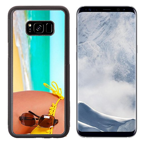 Liili Premium Samsung Galaxy S8 Plus Aluminum Backplate Bumper Snap Case Closeup of a female body in a swimsuit with sunglasses A day beach concept Photo 12787884 Simple Snap - Concept C Sunglasses