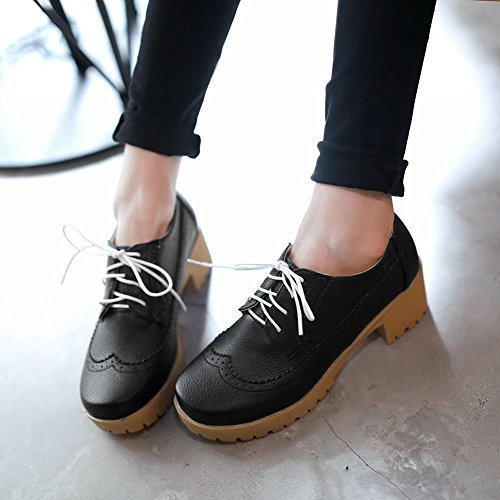 Latasa Mujeres Fashion Handmade Lace-up Chunky Tacón Medio Plataforma Oxfords Zapatos Negro