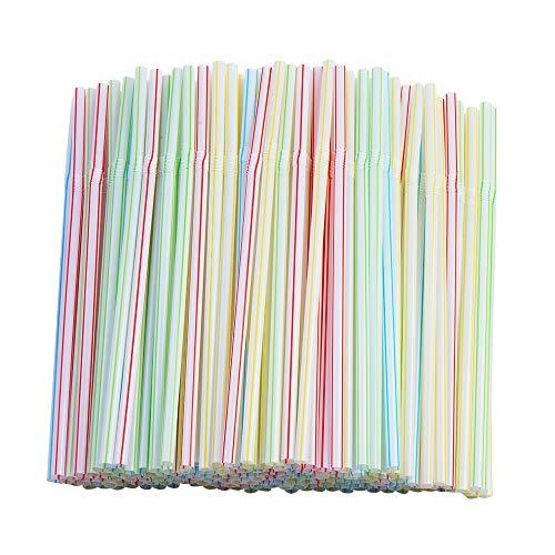 200 Pcs Flexible Straws,Disposable Plastic Stripes Multiple Colors Straws.(0.23