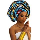 African Head Wraps 71''x20'' African Wax Print Head Scarf Tie for Women