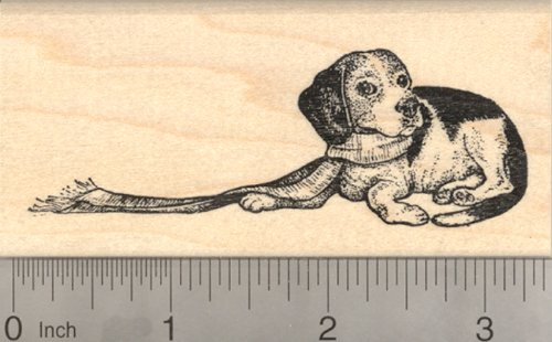 Holiday Beagle Rubber Stamp, Christmas Dog with Scarf