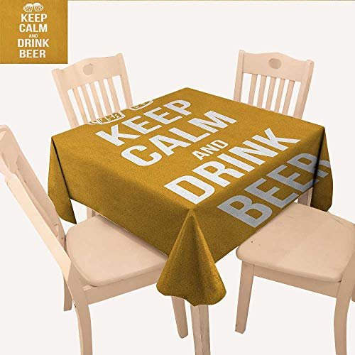 longbuyer Keep Calm Square Tablecloth Drink Beer Poster Design with Graphic Foamy Glasses Leisure Time Fun Pub Print Outdoor Tablecloth Amber White W 36