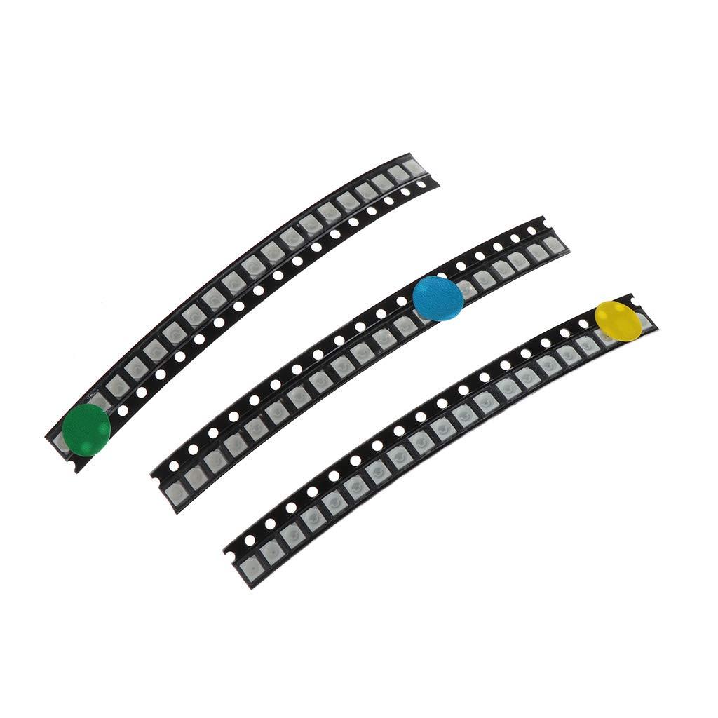 MIKI-Z 100 Piezas 5 Colores SMD 3528 1210 LED Luz Rojo Verde Azul Amarillo Blanco Kit de asignaci/ón
