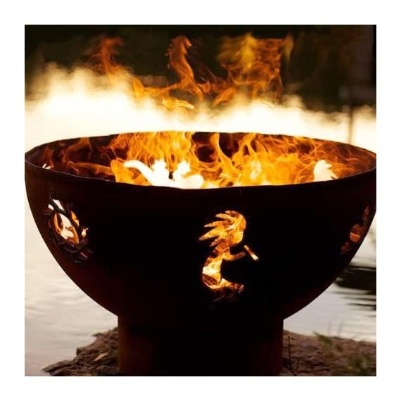 """Fire Pit Art Kokopelli Wood Burning Firepit - 1/4 """" thick mild carbon Steel Wood burning - patio, outdoor-decor, fire-pits-outdoor-fireplaces - 51RU21z gPL. SS570  -"""