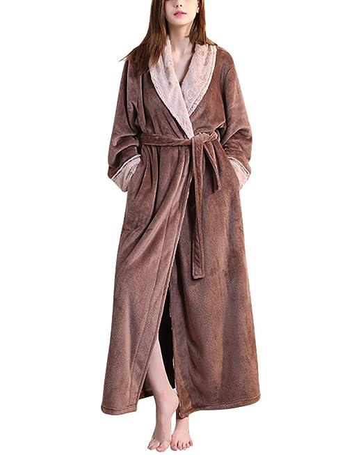 Unisex Bata hogar Franela Calientes Albornoz Invierno Batas Kimono Pijamas para Hombre y Mujer Café XL: Amazon.es: Ropa y accesorios