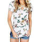 VIASA_ Women Short Shirts O-Neck Cross Neck Flower Prints Strap Blouse Trendy Loose T- Shirts (Red, XL)