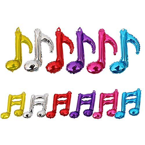 LDODO Musical Note Balloon Set of 12 Aluminum Foil Balloons Event Ceremony Anniversary Birthday Decoration (Musical Foil)