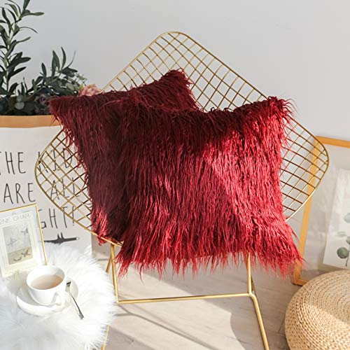 - Kevin Textile Christmas Decor Home Deluxe Soft Plush Merino Style Red Faux Fur Throw Pillow Cover Handmade Pillowcase, 2 Packs, 20x20 inch, Red Pear
