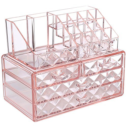 Ikee Design Pink Diamond Pattern Jewelry Cosmetic Storage Display Boxes Two Pieces Set.