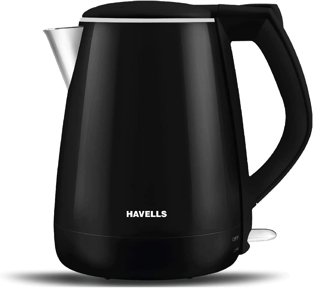 Havells Aqua Plus 1.2 litre Kettle/Tea Kettle/Coffee Maker/Milk Boiler/Water Boiler/ 304 Stainless Steel (Black, 1500 Watt)