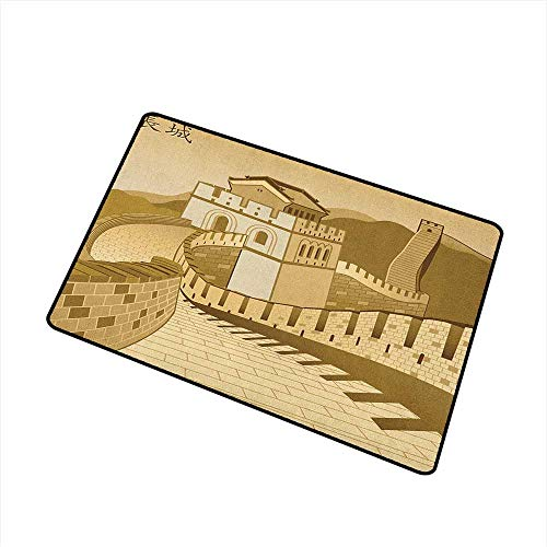 Wang Hai Chuan Asian Commercial Grade Entrance mat Great Wall of China Ancient Castle at Sunset Silk Road Barrier Old Cultural Heritage Print for entrances garages patios W15.7 x L23.6 Inch Cream