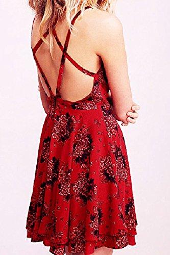 Sin mangas Halter Swing sin espalda Vestido de fiesta de las mujeres Red