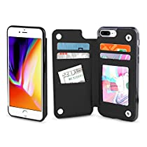 Gear Beast iPhone 8 Plus / 7 Plus Wallet Case, Top View Flip Folio for iPhone 8 Plus/7 Plus Slim Protective PU Leather Case 4 Slot Card Holder Including ID Holder Plus Cash Slot for Men andWomen