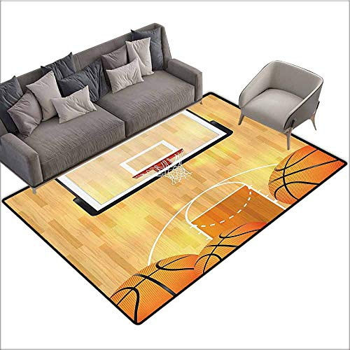 (Indoor/Outdoor Rubber Mat Sports Decor Collection,Basketball Court Ball and Hoop Madness Rim Court Parquet Hardwood Picture Print,Ivory Orange Black 60