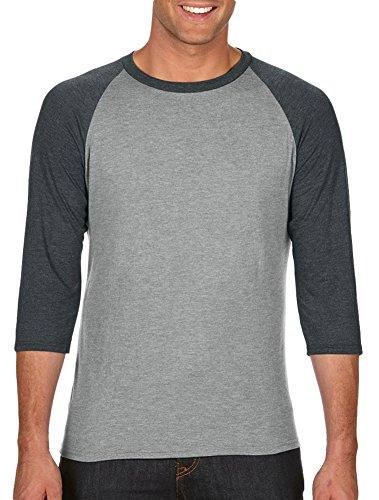 Anvil Adult Tri-Blend 3/4-Sleeve Raglan T-Shirt, HeatherGry/ HthrDkGry, Medium