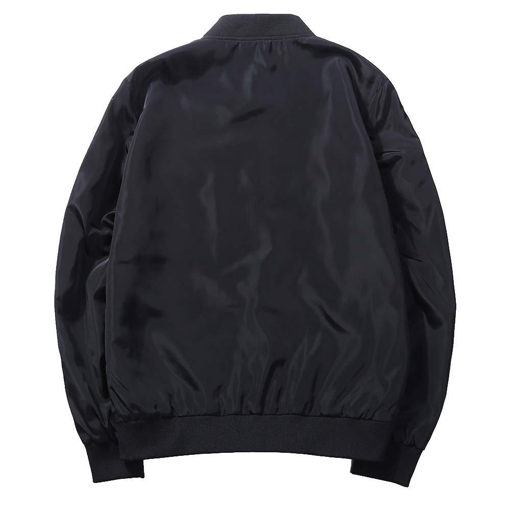 maduang Mens Jacket Contrast Color Letter Lightweight Breathable Front-Zip Coat Jacket