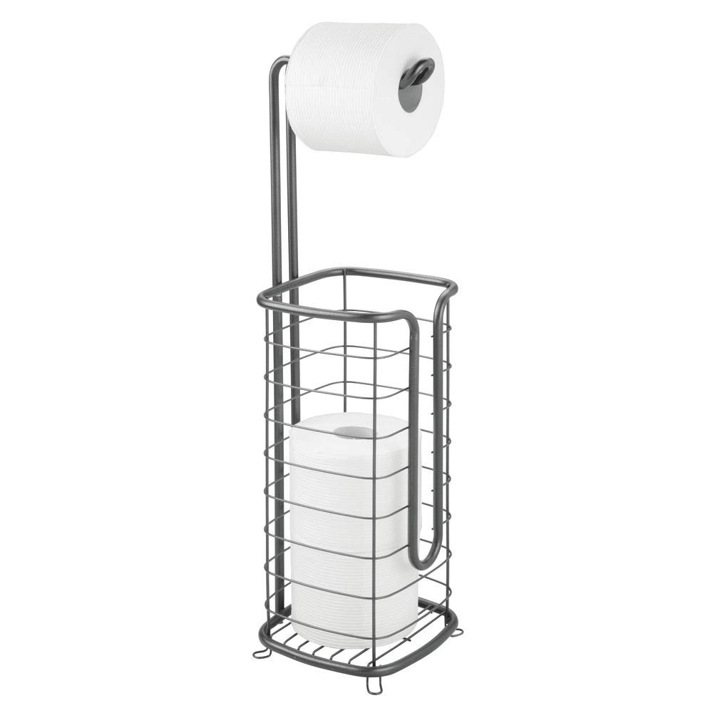 mDesign Metal Free Standing Toilet Paper Holder Stand and Dispenser, with Storage for 3 Rolls of Toilet Tissue While Dispensing 1 Roll for Bathrooms/Powder Rooms - Holds Mega Rolls - Graphite Gray