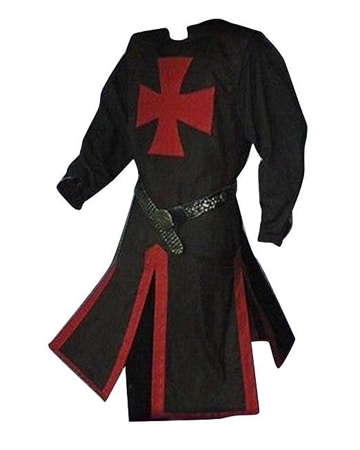 LiangZhu Túnica Medieval para Hombre Dividir Cruzar Medieval Traje ...