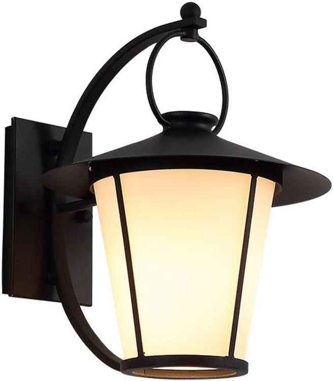 Lámpara de pared exterior Linterna a prueba de agua con vidrio blanco cónico - Lámpara de luz de pared con marco de hierro negro - Aplique de pared industrial vintage, luz de paisaje exterior