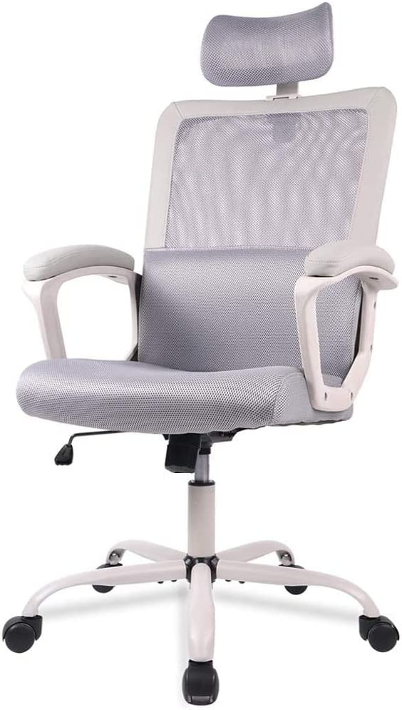 SMUGDESK Office Chair Ergonomic Lumbar Support/Adjustable Headrest/Armrest and Wheels/Mesh High Back/Swivel Rolling, Grey