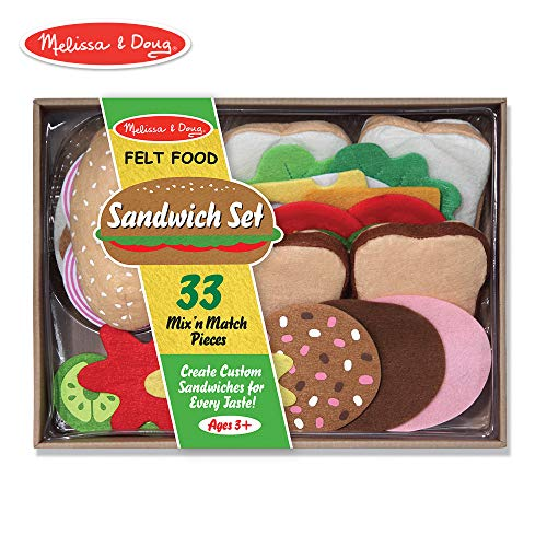 Melissa & Doug Felt Play Food Sandwich Set (Pretend Play, Easy to Clean, Includes Play Ideas, 33 Durable Pieces)