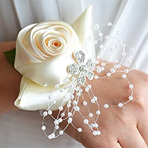 USIX 2pc Pack-Handmade Satin Rose Wrist Corsage With Elastic Lace Wristband for Girl Bridesmaid Wedding Wrist Corsage Party Prom Flower Corsage Hand Flower (Ivory) 51