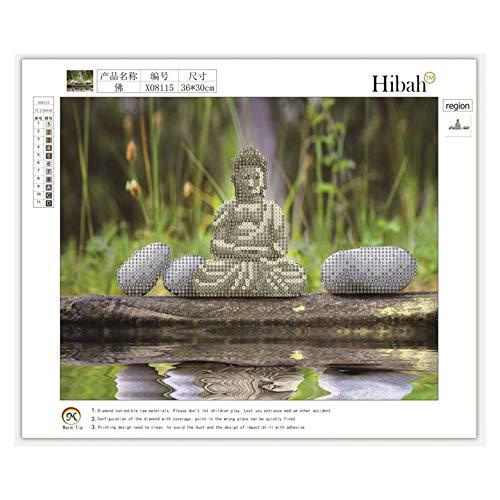 Buddha 36x30 cm Magia Fai da Te a Mano Pittura Diamante 5D Strass Buddha Ricamo Punto Croce Artigianale per la Decorazione della Parete di casa