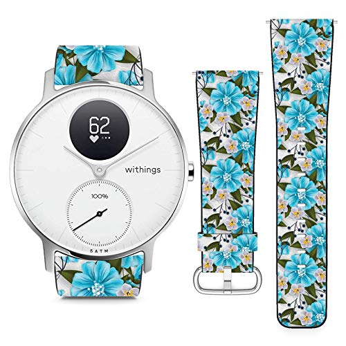 Compatible with Withings (Nokia) Steel HR 36mm // 18mm Leather Replacement Bracelet Strap Wristband with Quick Release Pins // Tropical Flower Blossom Cluster
