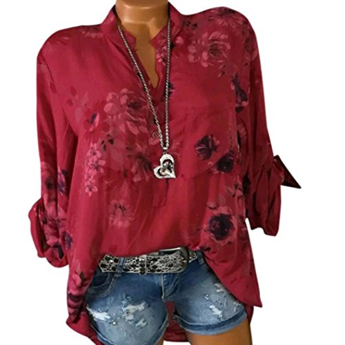 Longues Chemise Size Femme Chemisier Mousseline Imprimer Rouge Manches Bringbring Floral Soie Plus de Tops gqzxqvR