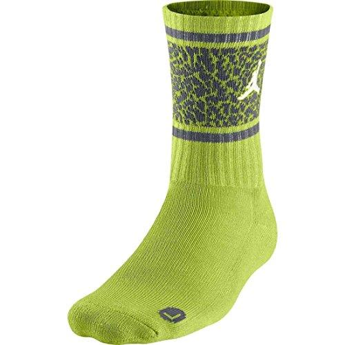 Nike Men's Air Jordan Striped Elephant Print Crew Socks Large (8-12) Green Grey
