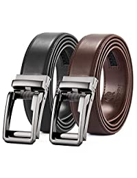 """Ratchet Belt, Mens Leather Dress Belt with Slide Automatic Buckle in Gift Box(Black and Brown, 28""""-44"""" Adjustable)"""
