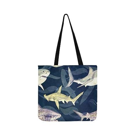 Tiburones Variedad Azul Tiger Ballena Hammerhead Lienzo Tote ...