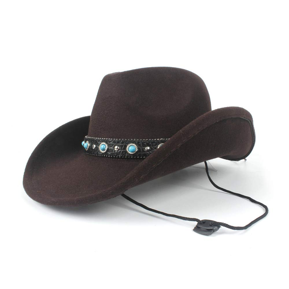 Women Men Wool Hollow Western Cowboy Hat Gentleman Roll Up Brim Cap Dad Hat (color   Brown, Size   58cm)