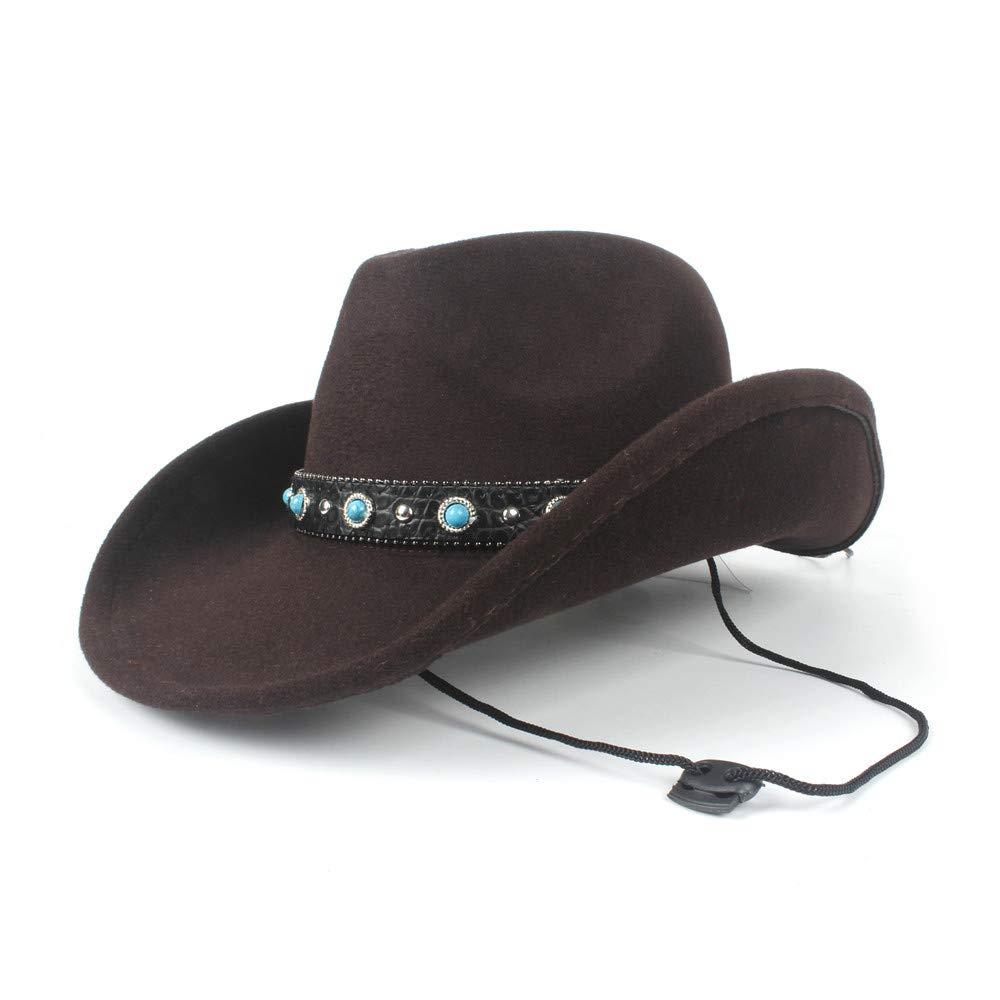 CHENJUAN Hat Women Men Wool Hollow Western Cowboy Hat for Gentleman Roll Up Brim Sombrero Cap Dad Hat