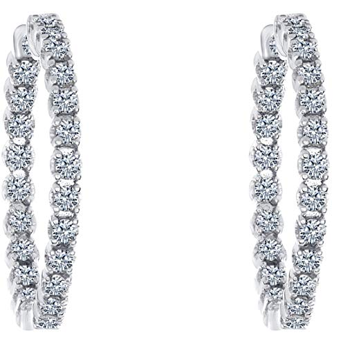 rs 1.00 Carat T.w. Beautiful Inside-Out Hoop Earring Top Shine, Real Natural White Diamond, Round Brilliant Cut, Set in White Gold, Secure Clasp Lock ()