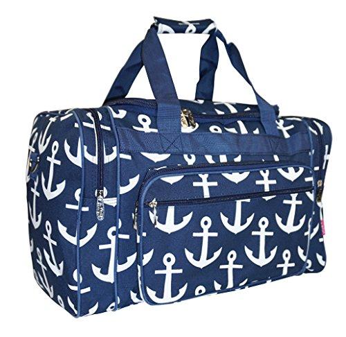 N. Gil Navy Nautical Anchors Duffle Carry On Bags - (Cute Duffel Bags)