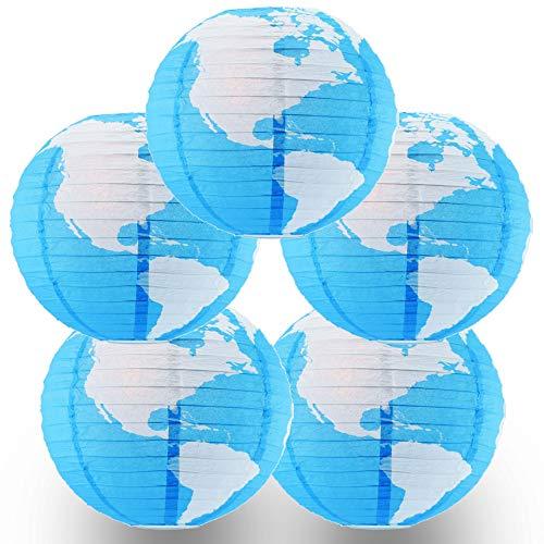 Quasimoon PaperLanternStore.com (5-Pack) 14 Inch Greater Detailed World Earth Globe Paper Lantern -