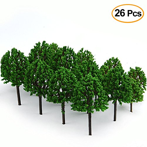 Model Railroad Diorama (KUUQA 26PCS Model Trees, Diorama Tree,Train Tree Railroad Scenery Diorama Model Architecture Trees for DIY Scenery Landscape(No Stands))
